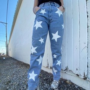 Vintage, One of a Kind, Hand Painted Star Jeans
